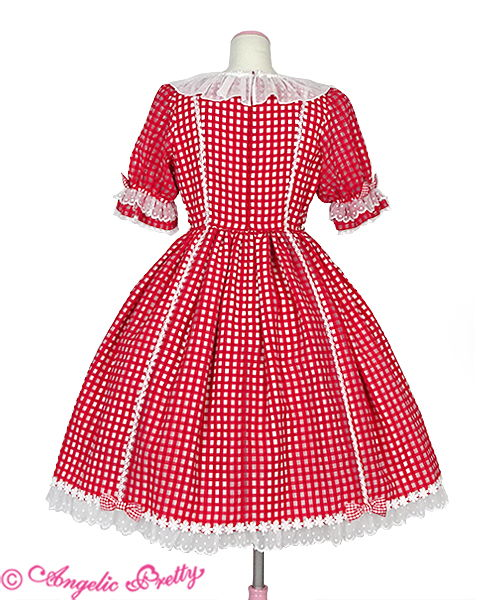 Humming Gingham One Piece - Red - Click Image to Close